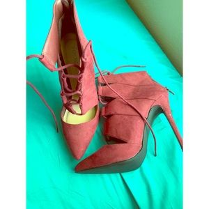 Burgundy women high heels